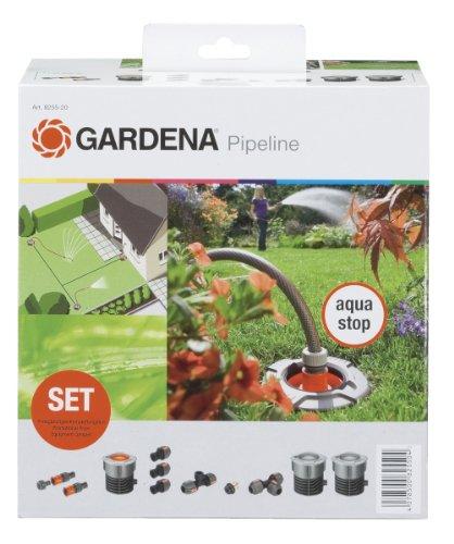 Gardena 8255-20 Garten Pipeline Starter-Set, Frostsicher, mit Wasserstop, einfache Bedienung, Keine Verschmutzung (Anwendung: Starter Set mit zwei Wasserabgriffspunkten; Gewinde: 3/4″ Innengewinde)