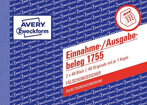 Avery Zweckform 1755 Einnahme-/Ausgabebeleg (A6 quer, selbstdurchschreibend, 2x40 Blatt) weiß/gelb
