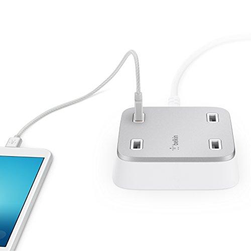 Belkin Family Rockstar 4-fach USB Ladegerät für Tablet/Smartphone (geeignet für iPhone, iPad, iPod, Samsung Galaxy), weiß/silber