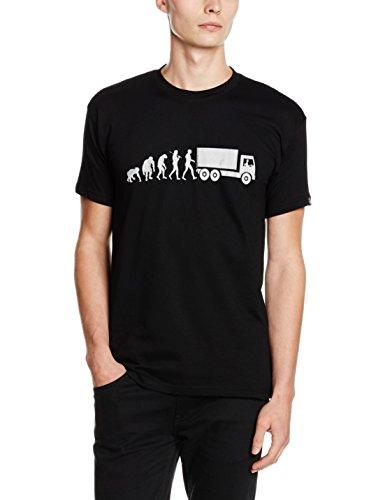 Shirtzshop Silber Edition Trucker Truck Fernfahrer LKW Fahrer Evolution T-Shirt, Schwarz, M, ss-evsil_trucker-t