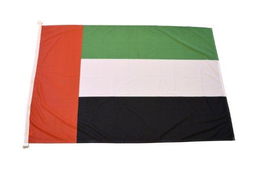 FahnenFleck Flagge: Vereinigte Arabische Emirate, Breite 150 cm, Höhe 100 cm, aus hochwertigem Polyestergewirk Polytex 110 g/m²