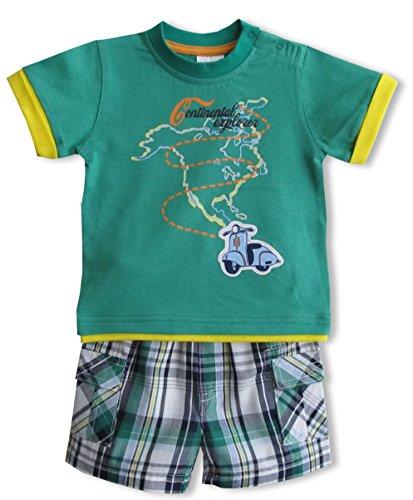 Schnizler Jungen Bekleidungsset Nordamerika mit T-Shirt und karierter Bermuda, Gr. 80, Grün (original 900)