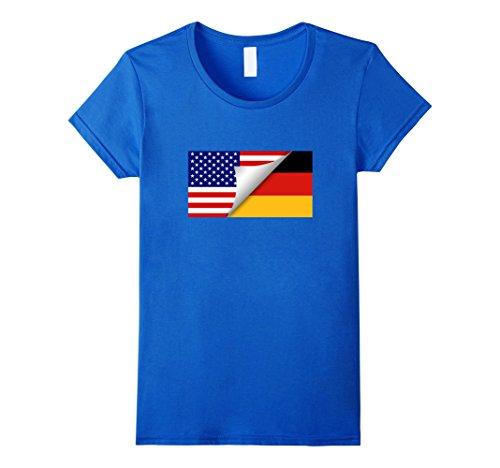 German American Flag T-Shirt Deutschland Flagge Vereinigte S Damen, Größe M Königsblau
