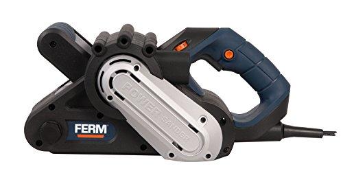 FERM BSM1021 Bandschleifer 950W – Variable einstellbare Bandgeschwindigkeit – Mit 2 Klemmen für Stationär gebrauch – Inkl. 3 Schleifbänder (P60, P80 und P120) und Staubfangsack
