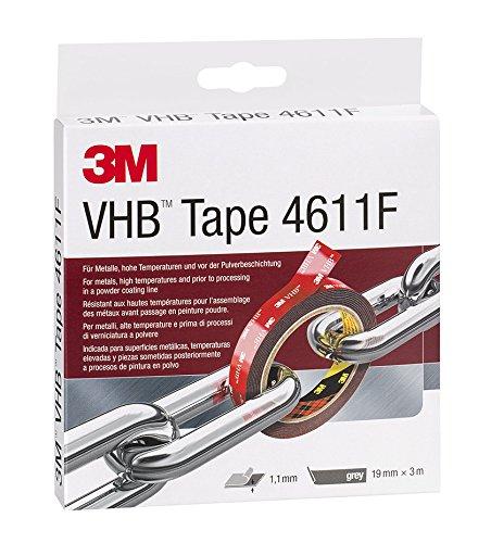 3M™ VHB™ Klebeband 4611F bei hohen Temperaturen und Metallen, Grau, 19 mm x 3 m, 1,1 mm