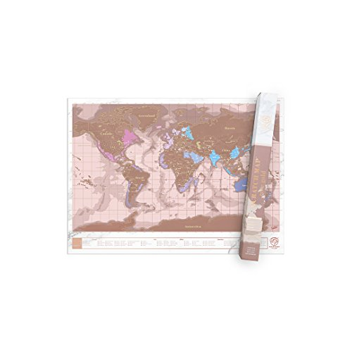 Weltkarte zum rubbeln Rubbel Weltkarte, Personalisiertes Weltrubbelkarten Poster, Premium Qualitäts Reisekarte mit Ländern, Hauptstädten und Staaten - Rosa