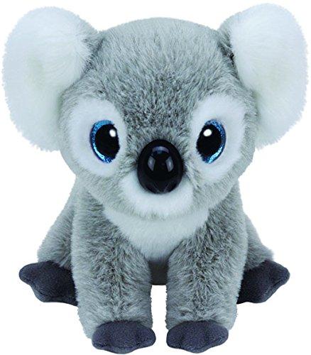 Carletto Ty 42128 - Kookoo mit Glitzeraugen, Beanie Babies Koala, 15 cm, grau