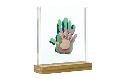 Baby Art 3601099400 Design Bilderrahmen für Handabdrücke, Holz Aufsteller mit 4 Acrylglas Scheiben, transparent