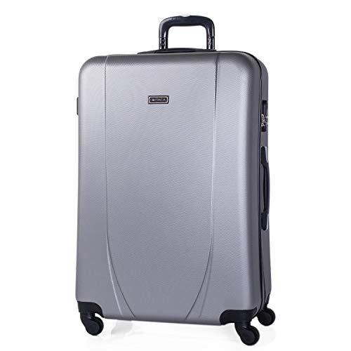 ITACA - 70 cm großen XL ABS Trolley Koffer. Starre, langlebig, robust und super leicht. Teleskopgriff, 2 versenkbare Griffe. 4 Räder. Größe XL. 71170, Color Silber