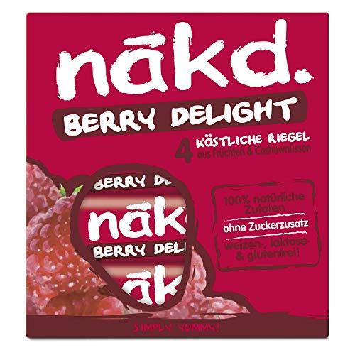 Nakd Berry Delight, köstlicher Fruchtriegel - Nussriegel- ohne Zuckerzusatz, vegan, laktosefrei, weizenfrei und glutenfrei, 12 x 4er Multipack (12 x 140g)