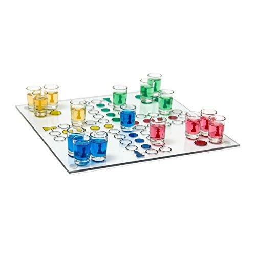 Relaxdays Drinking Ludo Spiel, Partyspiel für Erwachsene, Brett, 2 Würfel & 16 Shotgläser, lustiges Trinkspiel, bunt