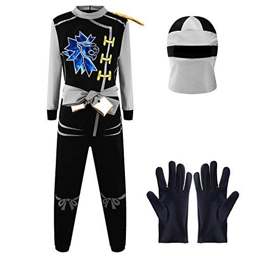 Katara 1771 - Ninja Kostüm Anzug, Kinder, Verkleidung Fasching Karneval, Größe L, Grau Schwarz