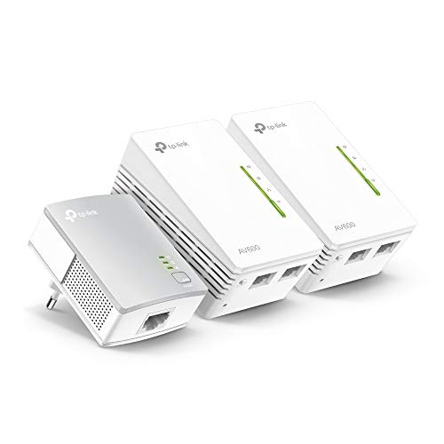 TP-Link TL-WPA4220T KIT AV600 WLAN N300 WiFi Powerline (max. 600Mbit/s Powerline, max. 300Mbit/s WLAN 2,4GHz, Plug und Play, kompatibel zu allen Powerline Adaptern, 3er Set) weiß