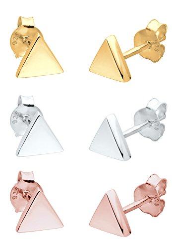 Elli Ohrringe 3er Set Dreieck Geo Tricolor Minimal Silber