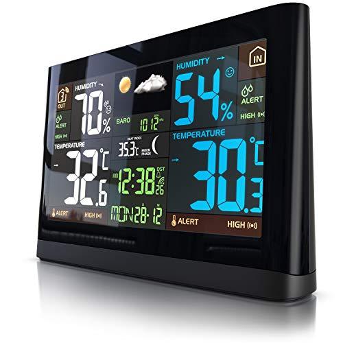 Funk Wetterstation mit Farbdisplay - mit Außensensor - DCF Empfangssignal Funkuhr - Innen- und Außentemperatur - relativer Luftdruck - Barometer - Temperaturtrend - Lichtsensor - LCD-Display