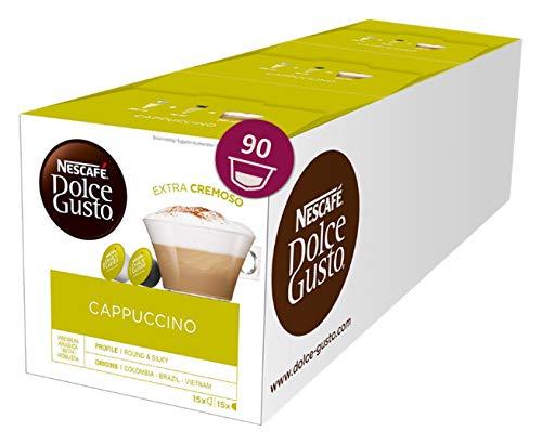 NESCAFÉ Dolce Gusto Cappuccino XXL-Vorratsbox (90 Kapseln, 100% Arabica Bohnen, leichter Kaffeegenuss mit cremigem Milchschaum) 3er Pack (3 x 30 Kapseln)
