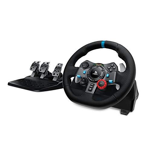 Logitech G29 Driving Force Gaming Rennlenkrad, Zweimotorig Force Feedback, 900° Lenkbereich, Leder-Lenkrad, Verstellbare Edelstahl Bodenpedale, PS4/PS3/PC/Mac - Schwarz