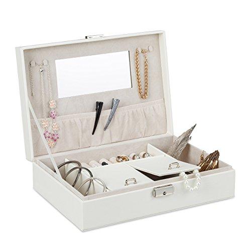 Relaxdays Schmuckkasten in Leder-Optik, versperrbarer Schmuckkoffer mit Spiegel, für Ringe, Ketten, BxT 28x19,5 cm, weiß